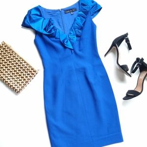 Carmen Marc Valvo • rosette blue cocktail dress